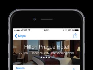 Apple Mapy nabízejí recenze hotelů