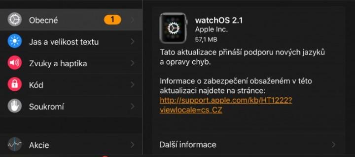 Apple Watch dostávají aktualizaci na WatchOS 2.1 a konečně umějí česky